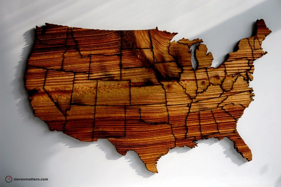 USA Map Puzzle - Textured Long Leaf Pine