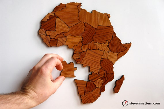 Africa Map Puzzle - Reclaimed Long Leaf Pine