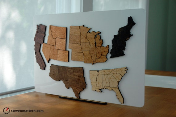 Continental USA Map Puzzle - Regions & Interstates