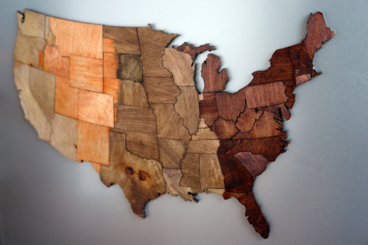 Usa Magnetic Time Zone Puzzle Stained Birch Plywood
