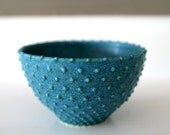 "Turquoise Blue Small Ceramic Bowl with Swiss dots / Wheel-Thrown and Sliptrailed / ""QUANTUM DOT A"""
