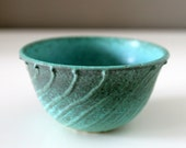 """RESERVED for SPT: Turquoise Bowl with Sliptrailing and Verdigris Glaze / Organic Patina / """"GORGAN A"""""""