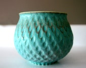 """Turquoise Stoneware Vessel Carved with Raindrops / Hand Thrown and Hand Carved Art Piece / """"EVAPORATION"""""""