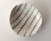 "Handmade, Ceramic Stoneware Dish with Black and White Dots / Small and Decorative / Cosmic Tortilla 10 ""THE JACKSON MOLLUSK"""