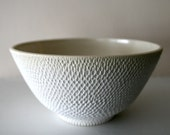 "Elegant Intricately Carved Large Matte White Stoneware Bowl / Thousands of Hand-Carved Marks / Ostrich-Egg Matte Finish / ""DAPPLE DIVOT"""