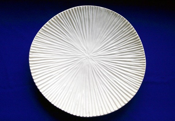 "Carved Creamy White Ceramic Dish / Cream Colored, Hand-Carved, Ocean Creature Dish / Reduced Price / ""SAND DOLLAR A"""