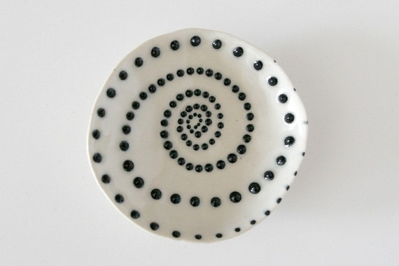 "Delicate Ceramic Stoneware Dish with Black and White Spiral Dots / Handmade, Delicate and Small / Cosmic Tortilla 02 ""SPIRAL"""