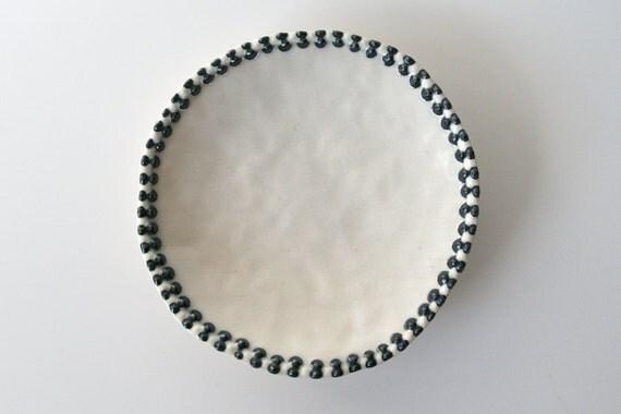 """Small Black and White Ceramic Dish with Black and White Zipper Design / Cosmic Tortilla 09 - """"ZIPPER"""""""