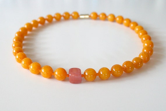 "Spring Necklace in Mango Orange Jade and Rose Pink Quartz / ""BRIONI"""
