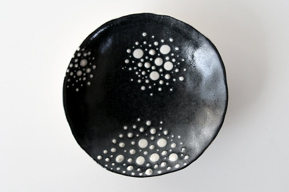 """Small Spotted Ceramic Dish with Black and White Star Gazer Dots / Cosmic Tortilla 01 - """"CLUSTER"""""""