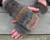 Natural Brown Felted Wool Hand Warmers, Fingerless Gloves, Colorway 2, Handmade by The Land of G on Etsy
