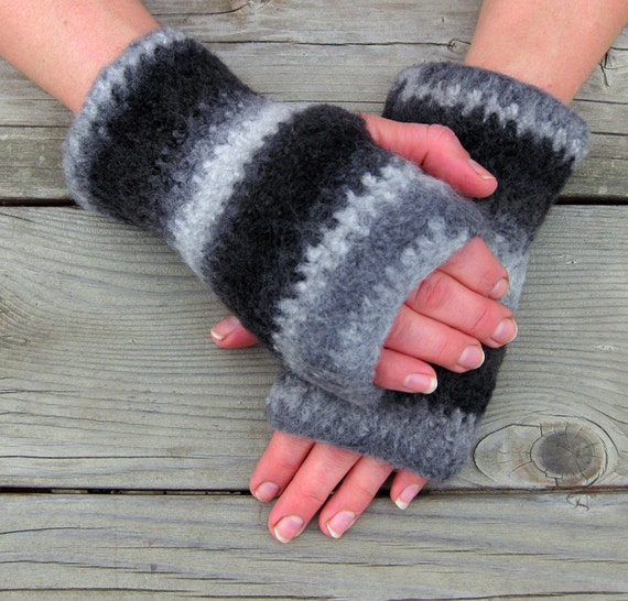 Felted Wool Handwarmers, Fingerless Gloves, Handmade by The Land of G on Etsy