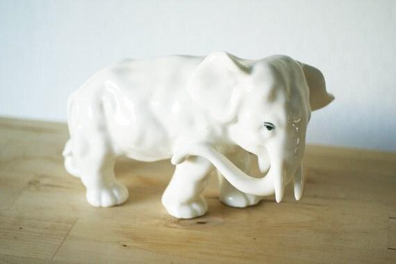 Vintage White Porcelain Elephant Figurine