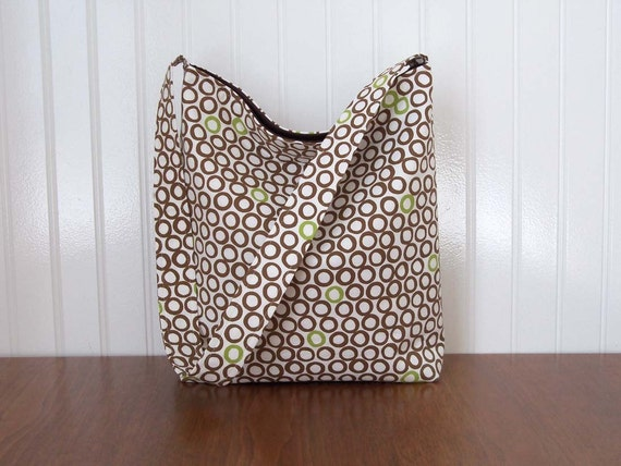 Slouch Purse - Brown Circles on White - MinGle by Monaluna