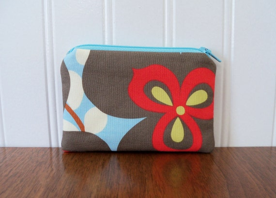 Coin Purse - Amy Butler Fabric - Morning Glory - Change Purse - Zippered Pouch - Blue and Red