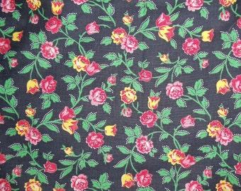 "Vintage Cotton Fabric 1 Yd. +17"" L 34"" W Black Cotto Fabric 1930's"