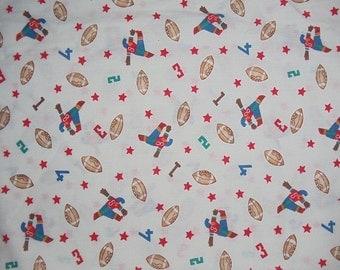 Vintage 1960 Football Cotton Fabric Juvenile 2 Yds  Length 44 Inch Width