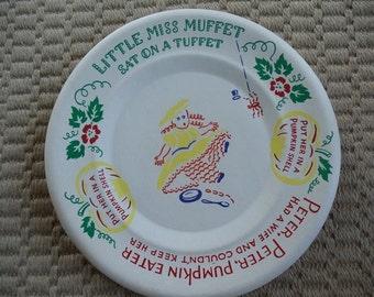 Vintage 1950s Nursery Rhyme Paper Plates Peter Peter Pumpkin Eater Little Miss Muffet