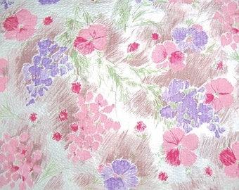 Vintage 1940's Cotton Seersucker Floral Fabric 1 Yard L 35 Inch Width