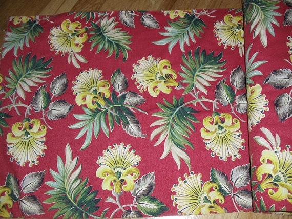 Vintage 1940s Barkcloth Cotton Floral Fabric 1 Yd By