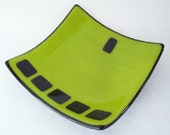 Lime Green on Black Fused Glass Dish