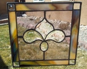 SALE Lavender Beveled and Jeweled Stained Glass Panel/Suncatcher