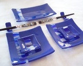 SUSHI SET - Blue Sky Fused Glass Sushi Set with Gold Crane Chopsticks