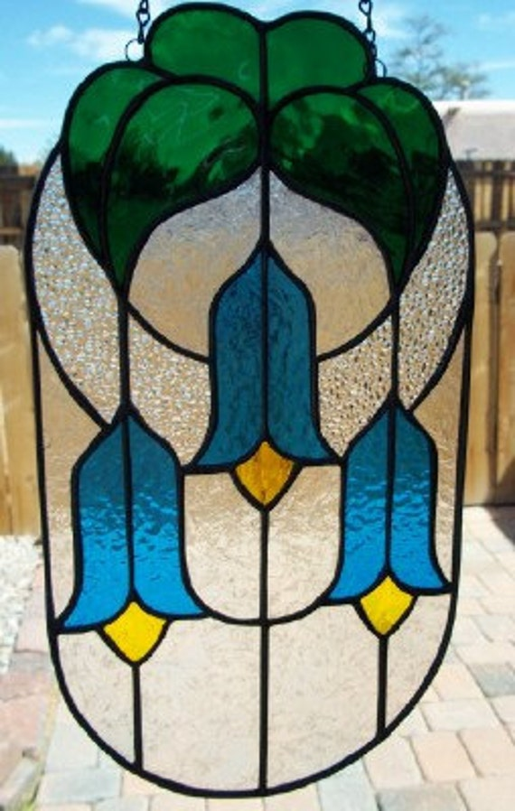 STAINED GLASS - Oval Bluebells Stained Glass Window Panel Suncatcher