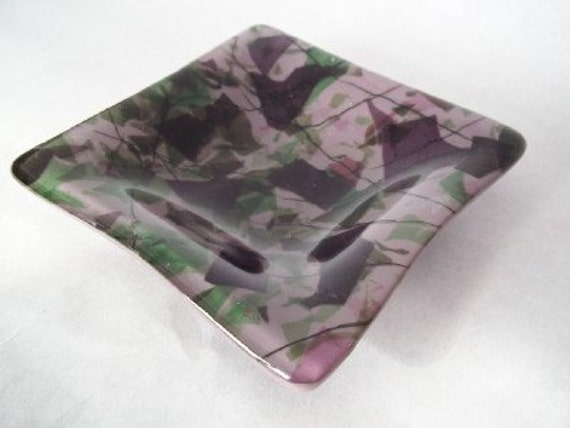 DISH - Purple Garden Fused Glass Dish, Soap Dish, Ring Keeper