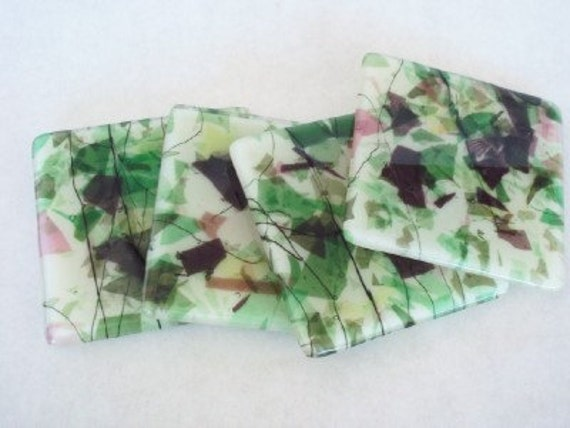 COASTERS - Garden Path Fused Glass Coasters - Set of 4