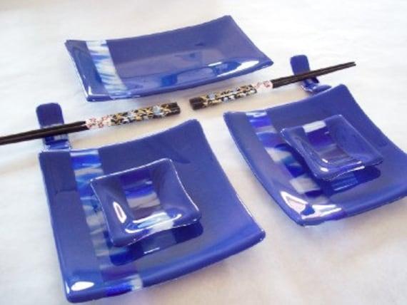 SUSHI SET - Blue Sky Fused Glass Sushi Set with Gold Crane Chopsticks