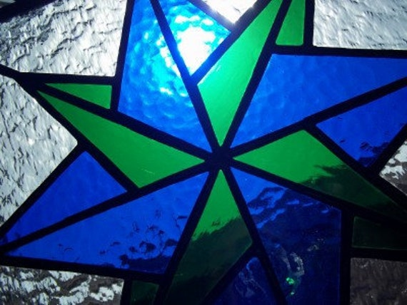 Mariners Compass Stained Glass Panel
