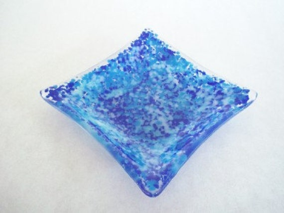 FREE SHIPPING - Blue Sky Fused Glass Dish, Office Gift, Ring Keeper, Small Gift, Gift Exchange