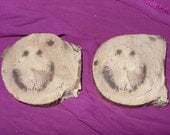 Natural Wood Tree Faces Cut Slices Destash Set Smiley Face Lapidary Woodworking