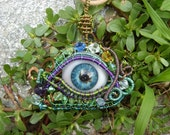 Reserved for Raven All seeing Eye of Power and Protection Vintage Prosthetic Eye OOAK Wirewrap Hand painted Blue  Evil Eye Pendant