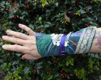 ImAgiNaRy CloTHinG Shabby Chic Lacy Cuff Teal Purple Creme Vintage Lace Fairy Wear