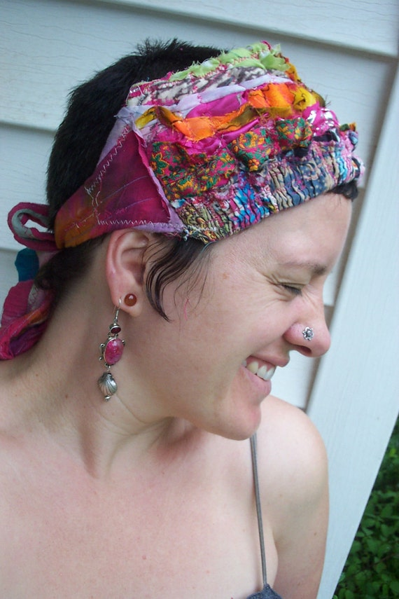 Reserved for the Lovely ieattofu68 FrUmPy GirL Bohemian Fabric Fusion Gypsy Hair Wrap Long Or Short Hair Head Scarf