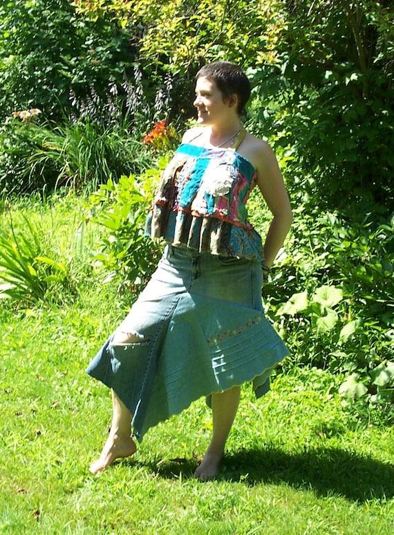 Comfy Reclaimed Blue Denim Forest Fairy Skirt  Festival Hula Hoop Attire Size 12-14 Flowers