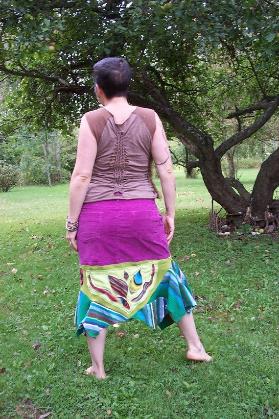 Size 14 Eco Friendly Corduroy  Bohemian Skirt Patchwork Gypsy Rainbow Purple with Pockets