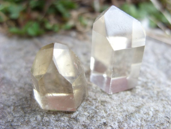 Set of 2 All Natural Polished Petite Citrine Quartz Crystal Points Point Healing Health