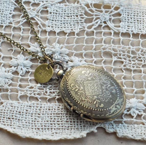Carpe Diem Pocketwatch Necklace