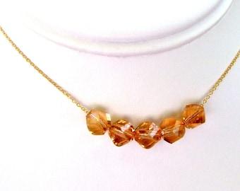 SALE Swarovski Topaz Goldfill Necklace