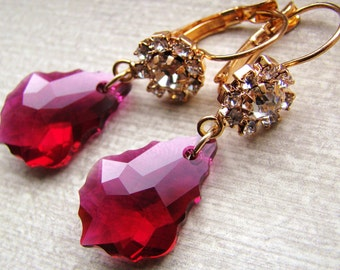 Sale Red Ruby earring. Swarovski Crystal Gold Rhinestone Earrings
