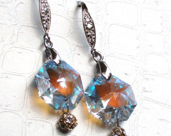 Sale Swarovski AB Sterling Silver Pave Earrings