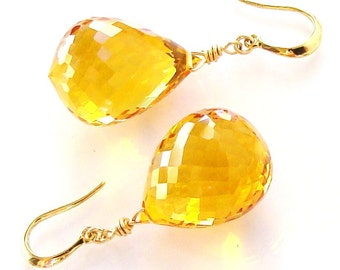 Sale Yellow Citrine Gold Earrings Sunshine