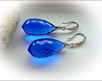 Luxury Swiss Blue Topaz Earrings - Pave Sterling Silver - December Birthstone
