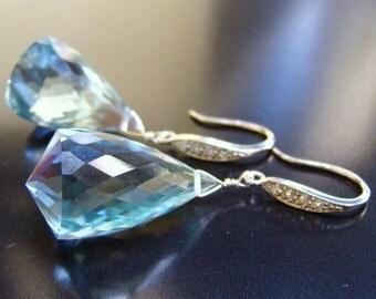 SALE Luxury Aquamarine stone Sterling Pave Earrings. Silver jewelry. Gemstone earrings