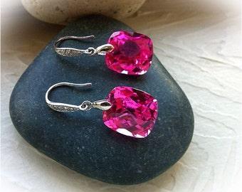 Beautiful Pink Topaz Sterling Earrings
