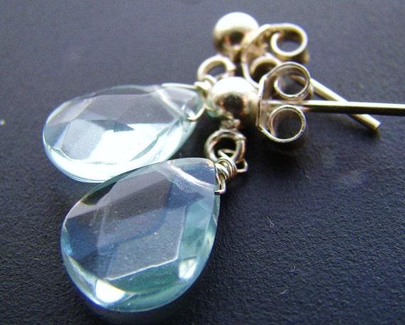 Aqua Fluorite Silver Wire Wrapped Posts Earrings