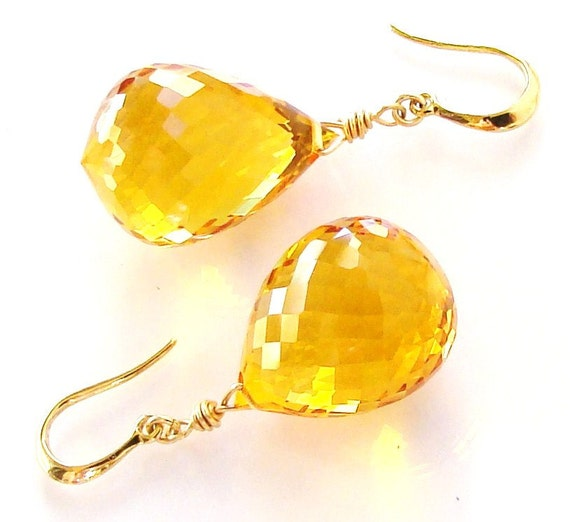 Sale Yellow Citrine Gold Earrings Sunshine. Gold earrings. Statement jewelry